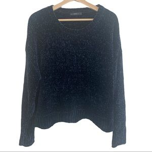 Zara Knit Navy Chanille Sweater Soft!